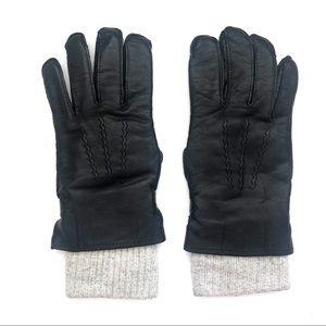 Vintage Black Leather Wool Cuff Moto Biker Gloves